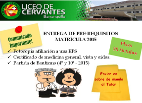 PRE-REQUISITOS MATRICULA 2015