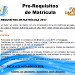 PRE-REQUISITOS MATRÍCULA 2017